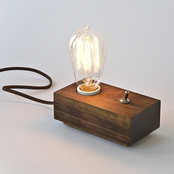 red walnut andrew berg switch lamp with edison bulb scout magazine. Black Bedroom Furniture Sets. Home Design Ideas