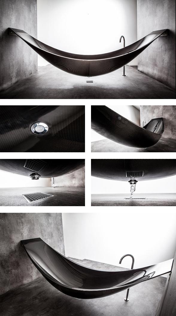Cool thing we want 390 a hammock shaped bathtub made out for Splinter works hammock bathtub